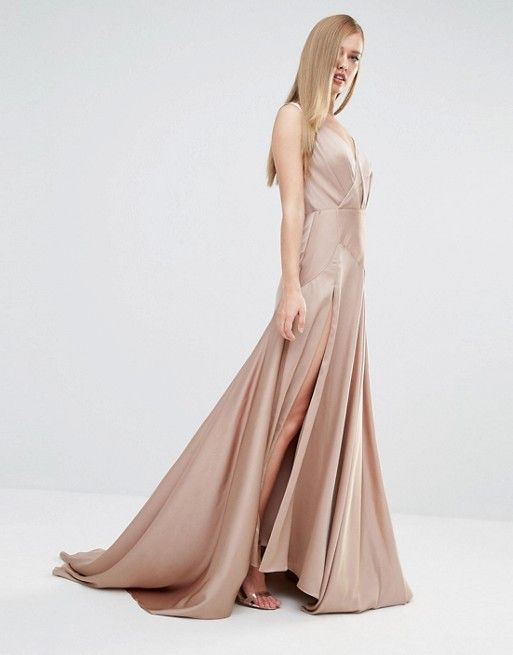 Fame and Partners | Fame and Partners Royal Satin Maxi Dress with Thigh Split