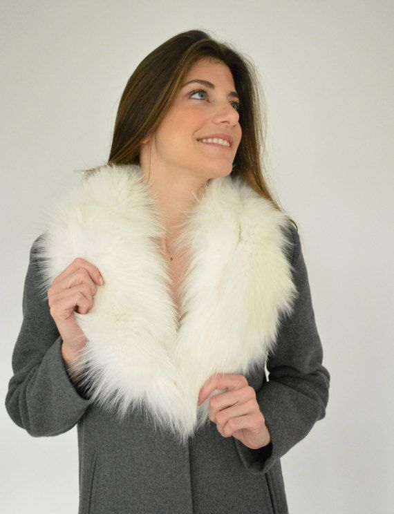 Women's Handmade White  scarf made with genuine Fox by lefushop