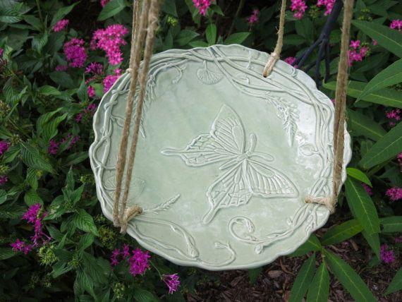 Bird Feeder  Butterfly Design Hanging Ceramic Birdbath by MyMothersGarden, $26.00