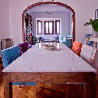 Juego Comedor p/6 Personas. Mesa mármol Carrara + 6 sillas en internet