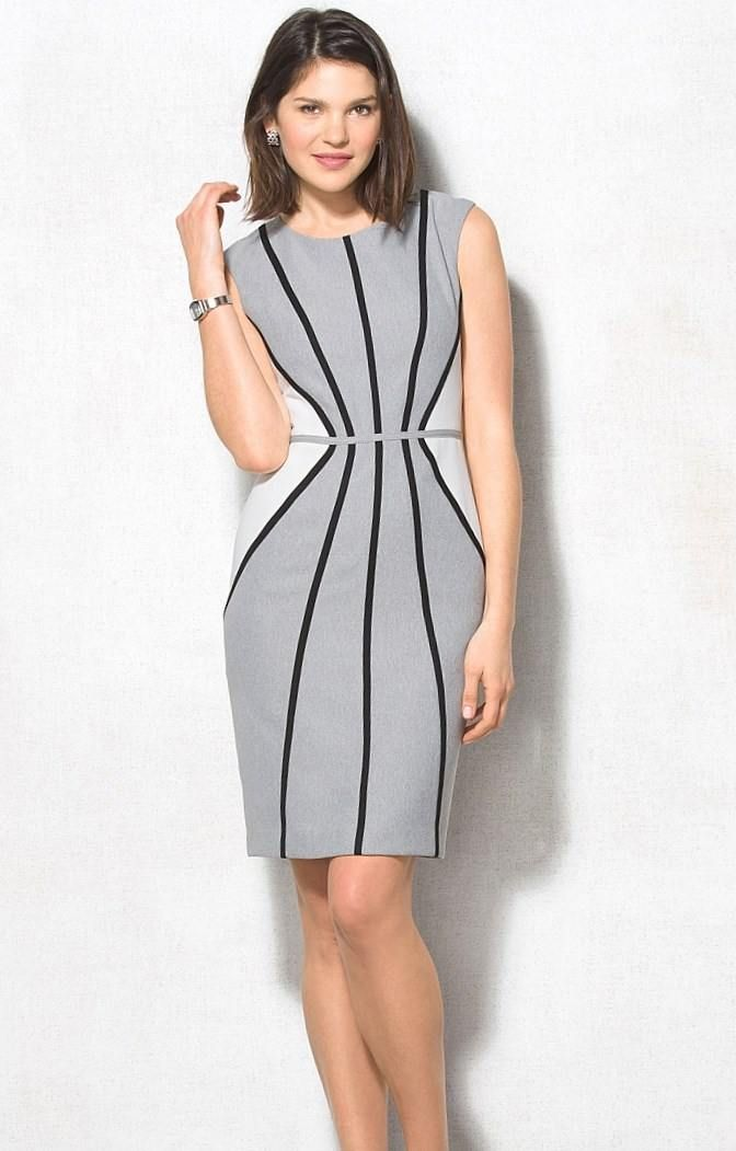 Платье-футляр для полных дам  это, прежде всего, «умное» платье. Так стилисты называют модели с хитро расположенными контрастными вставками.