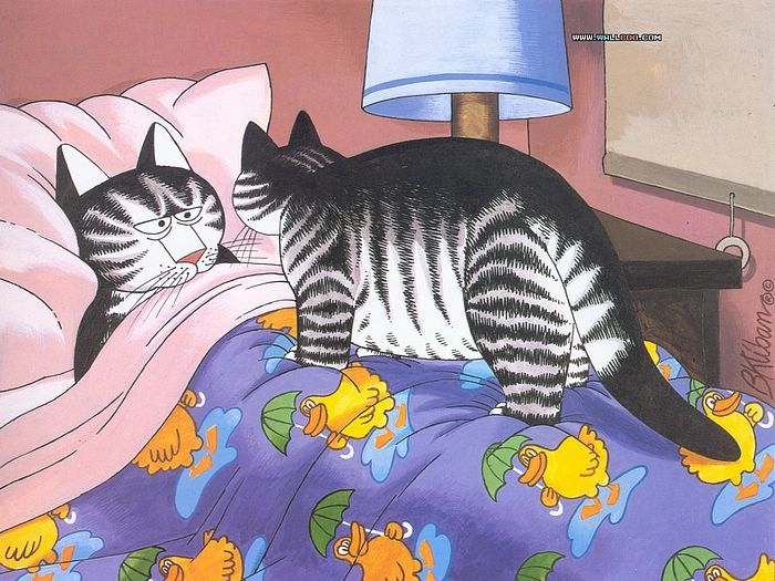 Cat Dreams : Amusing Cat Cartoons by Bernard Kliban - Wake Up Call,   Amusing  Cat Cartoon by B. Kliban  1
