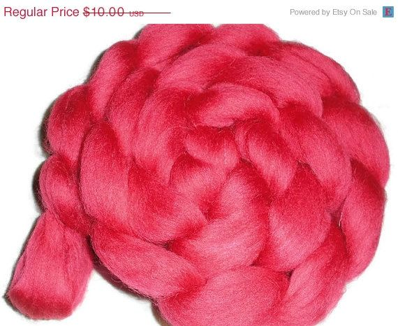 "Christmas in July South American Merino Wool Roving - Spinning And Nuno Felting Fiber - ""Dark Roses"""