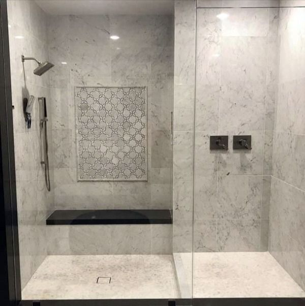 Carrara White Marble Shower With Bardiglio Grey Petal Blossoms Waterjet Mosaic Decorative Panel In 2020 White Marble Shower Marble Showers Bathroom Remodel Master
