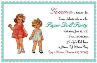 'Vintage Paper Doll' invite by InkiMinki Boutique Stationery. www.inkiminki.co.nz