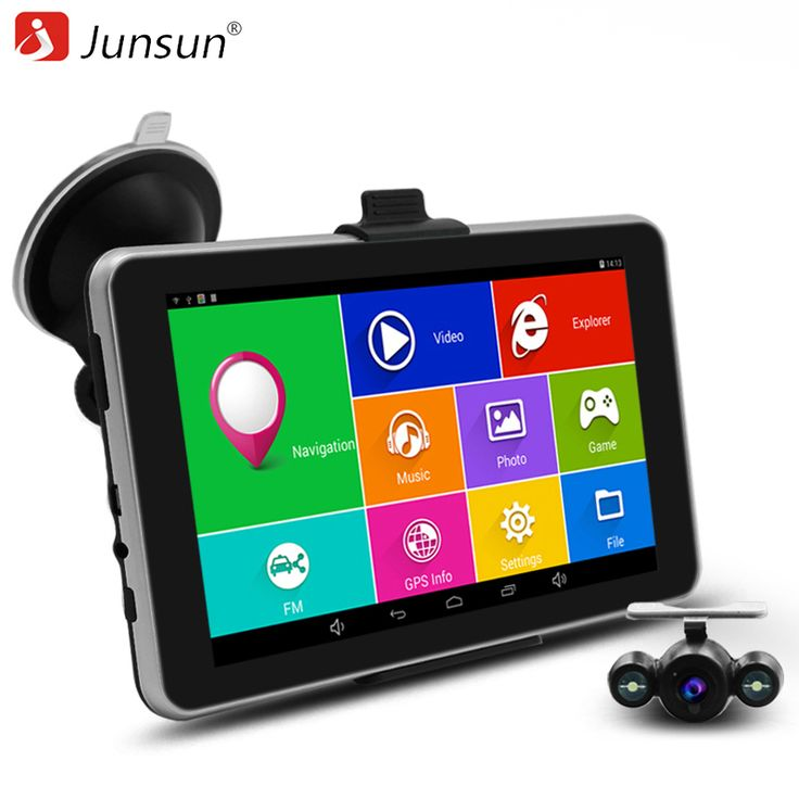 "Junsun 7"" HD Capacitive Car GPS Navigation Android navigator Rear view camera Bluetooth/WIFI/AVIN 16GB truck vehicle gps sat nav"