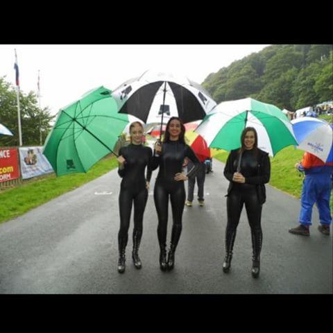 In the rain with Jodie and Rihanna 🌂 #cockofthenorth #qualifying #StartLine #oliversmount #oliversmountcircuit #race #motorbike #boots #spandex #catsuit #GridGirl #VFracing #VFGridGirl #brollydolly #gridgirlsuk #gridgirllife #gridgirl2014 #gridgirlinthemaking