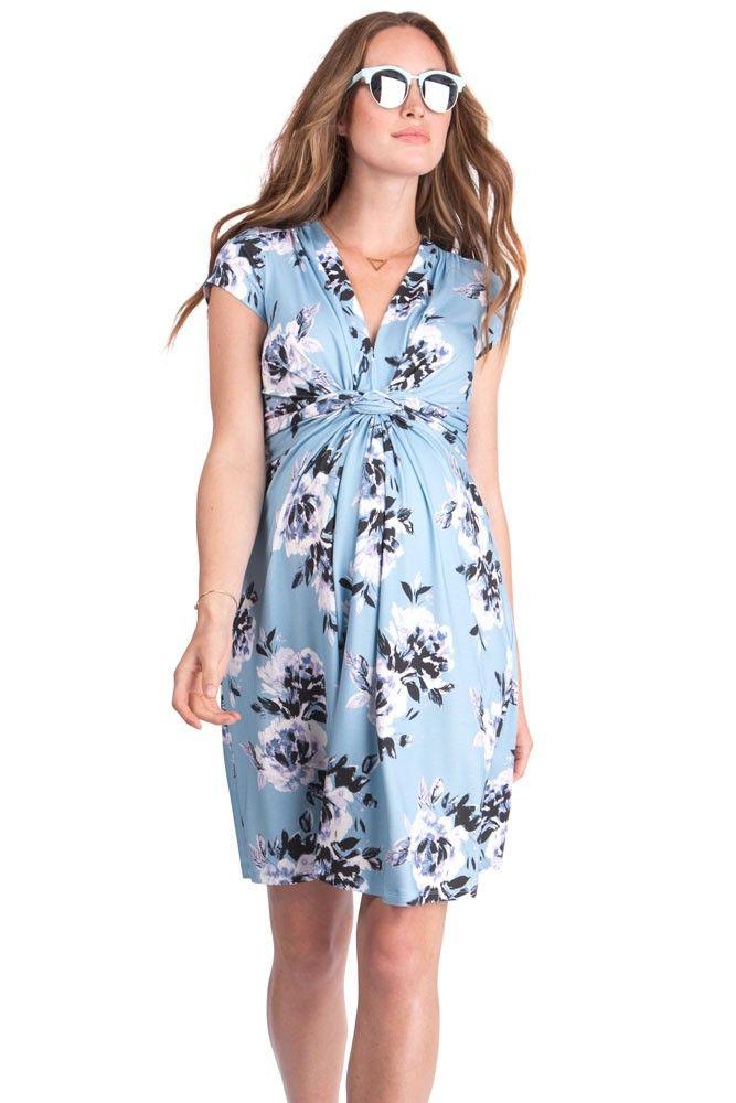 effa5cb7ab6c3 Seraphine Davina Printed Knot Front Maternity Dress (Floral Print ...