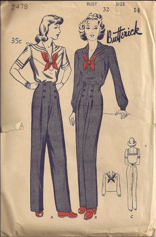 Butterick 2478 Sailor suit sewing pattern // Tuppence Ha'penny: Sailor Style Evolution Part 4: Wartime Patriotism