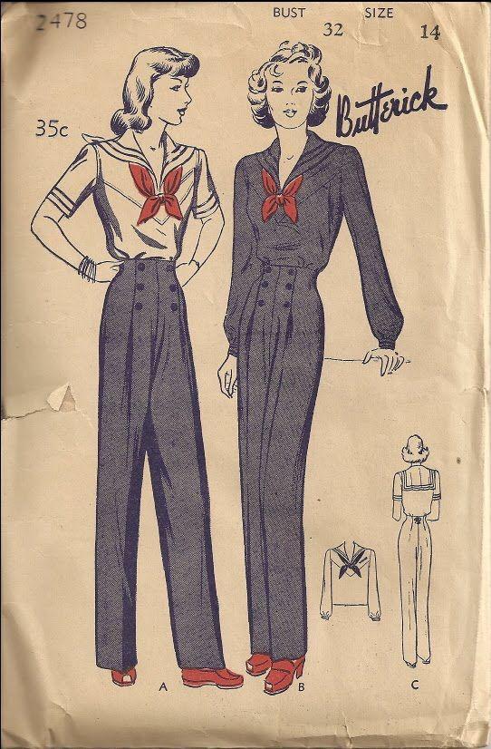 Butterick 2478 - sailor suit sewing pattern #vintage #WW2 #1940s