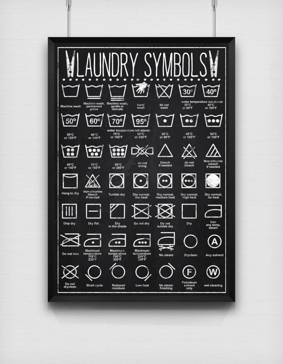 Hang a laundry symbols print above your washing machine so you never ruin something again.