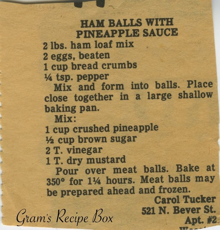 Thanks to Carol Tucker on Bever Street, we have today's recipe for Ham Balls with Pineapple Sauce. I don't know where this combo originated, but the ham & pineapple thing is found everyw...