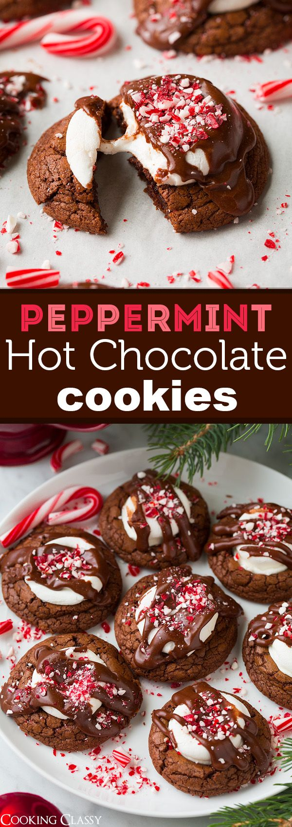 Peppermint Hot Chocolate Cookies - Rich, fudgy and totally delicious!