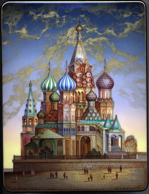 "Fedoskino. Russian Lacquer Art Titled ""Cathedral of St. Basil"" Artist Shevalkin"