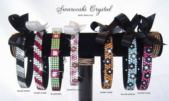 Dazzle your pup in Elegance and pure Glamour with our Trendy Posh Collection!  Each collar is individually hand crafted and adorned with genuine Swarovski® crystals. All our collars fit pets of all sizes from a tea cup dog or cat to a large dog. All eyes will be on you and your furry friend when you step out on the town in these Swanky creations of visual splendor.   FEATURES & DESCRIPTION: :: Individually handset Genuine Swarovski® Crystals. :: Durable nylon collar with non-tarnish metal…