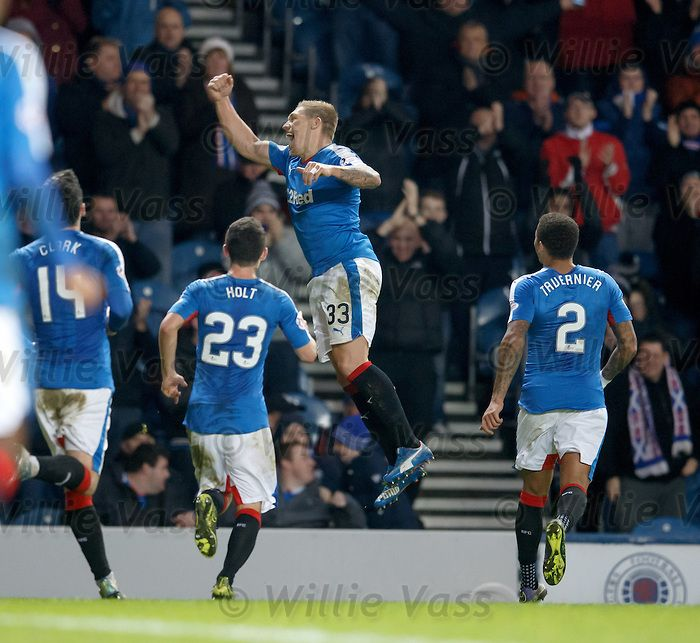 Martyn Waghorn scores goal no 2 for Rangers and celebrates