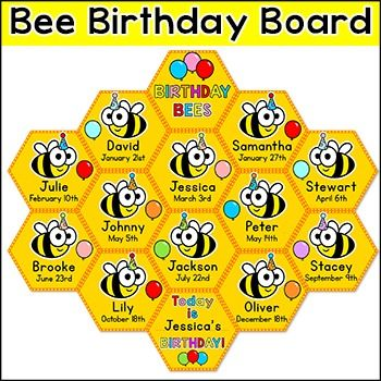 Bee Theme Birthday Board - Editable: This fun bees and honeycomb theme birthday board will look fantastic in your classroom! A student and their birthday are represented by a cell in the honeycomb. Simply label and cut out one cell for each student and then attach them in a honeycomb pattern to your classroom wall or bulletin board.This product coordinates with my other Bee Theme Classroom dcor products:Bee Theme Classroom Decor PackBee Theme Behavior Clip ChartBee Theme Newsle...