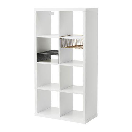 IKEA - KALLAX, Open kast met 2 inzetten, , Gebruik de inzetten om de KALLAX open kast op maat te maken voor je eigen opbergbehoefte.Helpt je belangrijke papieren, brieven en kranten/tijdschriften op orde te houden.Door de vakken blijft alles netjes. Voor pennen, bestek e.d.Zacht vilt beschermt je spullen en houdt ze netjes op hun plaats.