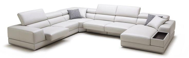 1576 - Modern White Full Leather Sectional Sofa