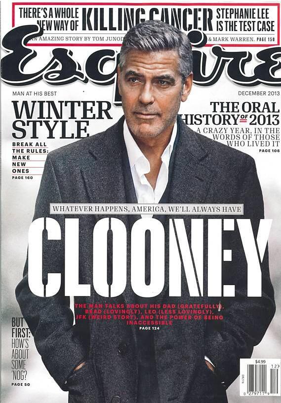 George Clooney in Ermenegildo #Zegna on the #cover of Esquire, December 2013 #celebs