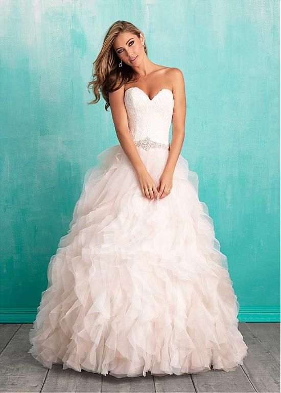 Marvelous Lace & Organza Sweetheart Neckline Ball Gown Wedding Dresses with Lace Appliques