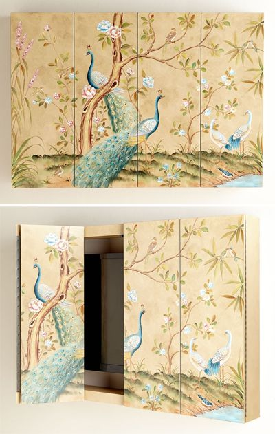 Chinoiserie-style Peacock Wall Cabinet at Horchow; would be a beautiful panel also.