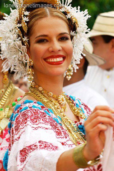 """Panama lady wearing a """"Pollera"""", Panama's folkloric dress"""