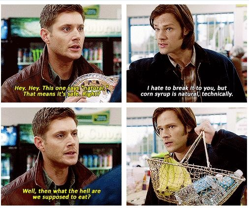"""""""Sam looks like he's kind of afraid Dean's gonna try and beat him with those bananas."""""""