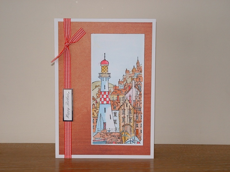 Cards with lighthouse stamp | Both of these cards are Michael Powell stamps watercoloured with ...