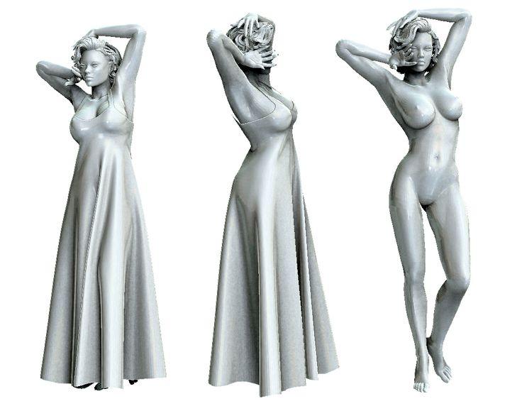 Отличная модель девушки в платье и без! Формат 3ds Max 9 (текстуры присутствуют), Obj. Ссылка на скачивание с Deposit