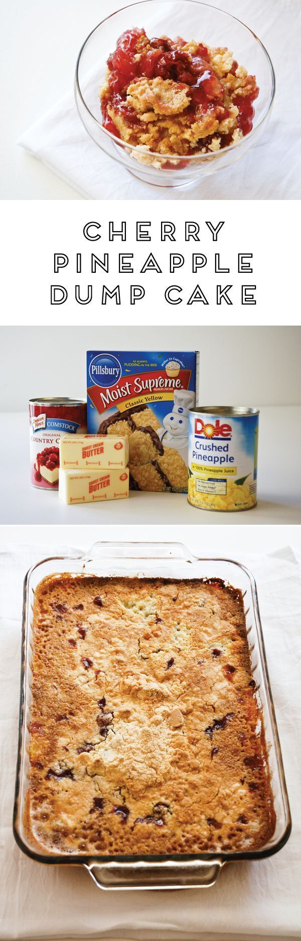 If you're looking for easy dessert, you've found the best! The Cherry Pineapple dump cake recipe is so easy to make and it's super delicious. Always a crowd pleaser!