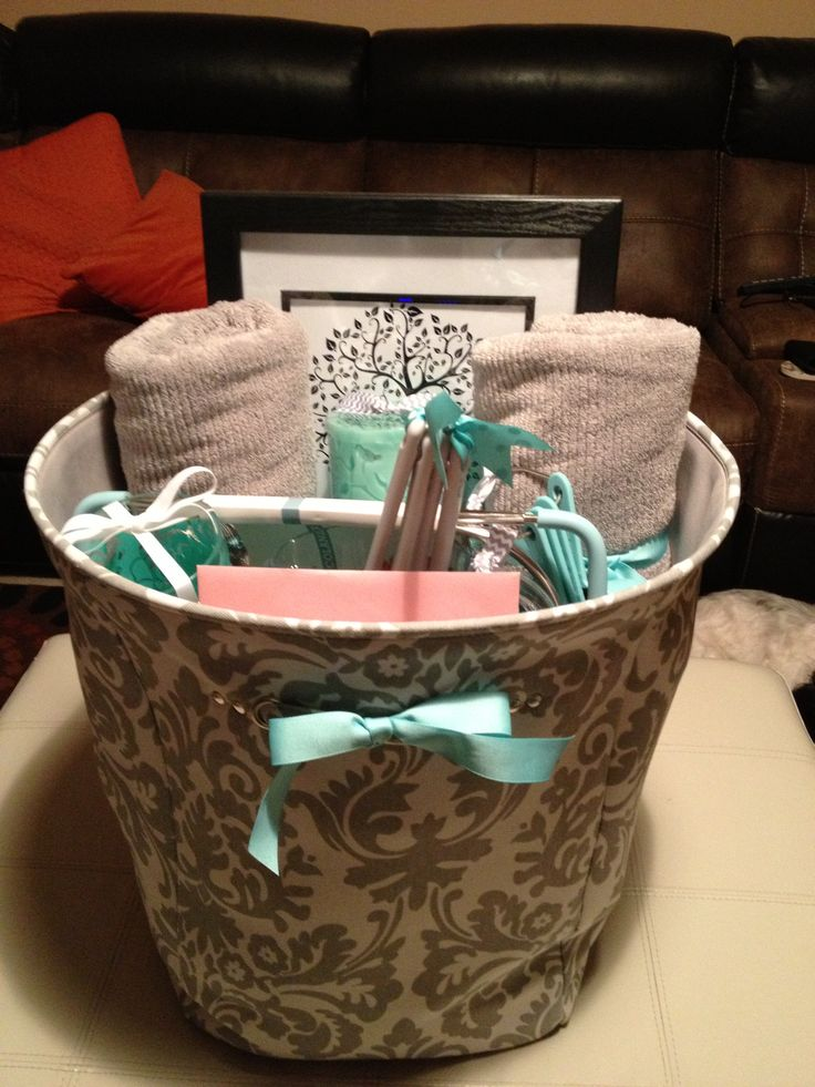 Tiffany blue and gray bridal gift basket gift ideas for Bathroom basket ideas for wedding