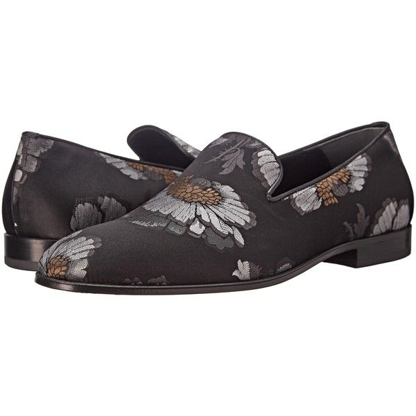 Alexander McQueen Floral Loafer (Black/Silver/Ivory) Men's Slip on... ($596) ❤ liked on Polyvore featuring men's fashion, men's shoes, silver, mens black slip on shoes, mens slip on shoes, alexander mcqueen mens shoes, mens black shoes and mens black loafers shoes