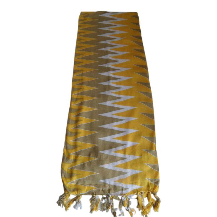 Sarong premium: sarong premium zig zag patroon kleuren geel beige wit