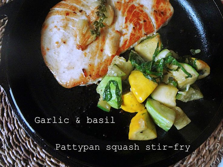 Garlic and basil pattypan squash stir-fry