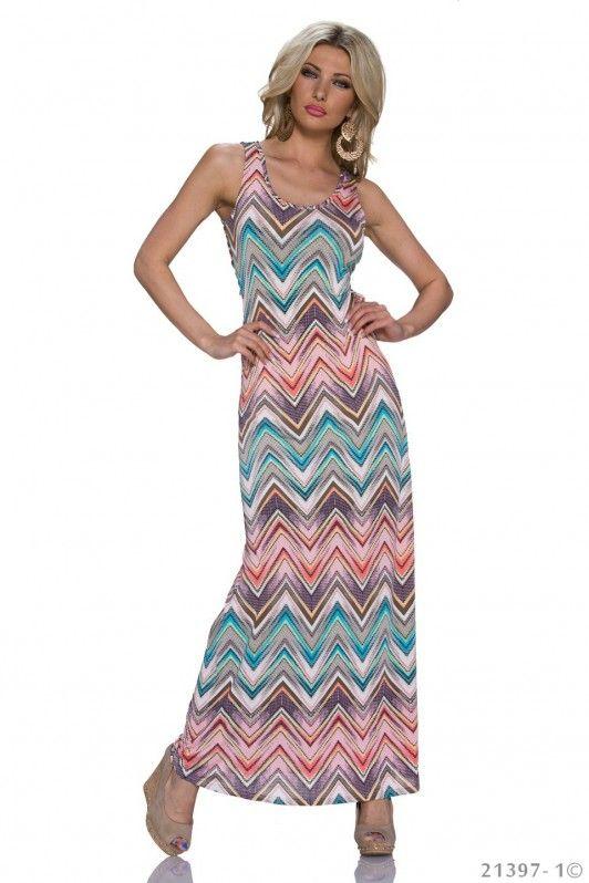 Koraal maxi dress met zomerse Azteken print
