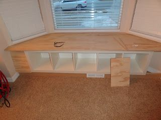 bay window seat on the cheap - ikea expedit bookcase