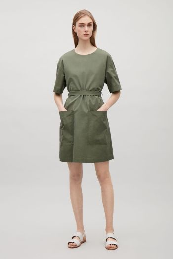 COS Dress with back buttons in Sage Green