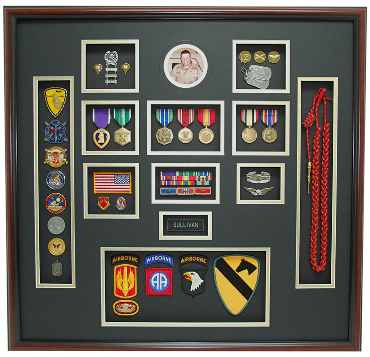 US Army Airborne Shadow Box Display. We mounted the soldiers commander coins and shoulder cord into the display to add color and depth. All the different colors from the awards, decorations, and patches really make this shadow box come to life. There is a lot to take in and admire with this one. We are very proud to have created such an awesome display for one of our troops!(http://www.militarymemoriesandmore.com/us-army-airborne-shadow-box/)