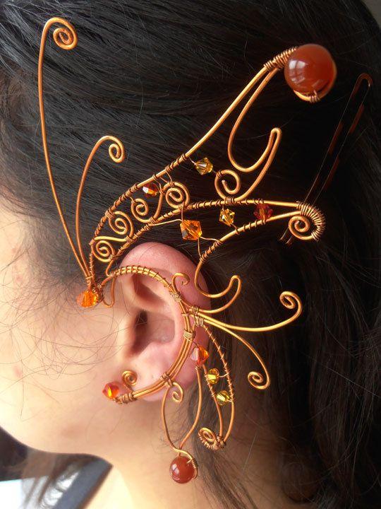 adorno orejas color cobrizo otoñal Autumn Fairy Ear Wings di ensorceller su Etsy