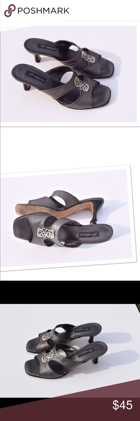 "Brighton Sandals Brighton ""Treson""slide sandals Made in Italy Leather upper. Gray color. Silver tone details Size 9 1/2. Heels 2 1/2"" Wear to soles (pic) In excellent condition Brighton Shoes Sandals"