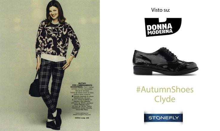 Le stringate sono un must anche per questo Autunno Inverno. #DonnaModerna ne dà un'anteprima con il modello #Stonefly Clyde abbinato a un mix di fiori e tartan per uno stile #mannish ma non troppo! #shoes #scarpe #british #stringate