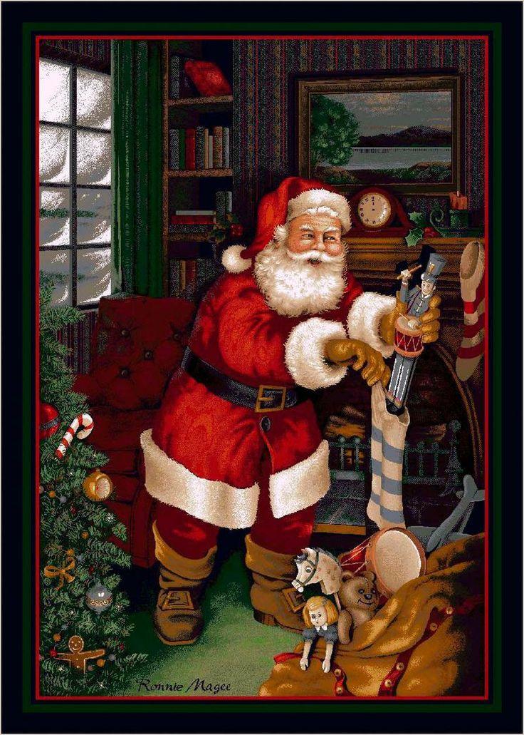 Love this. ... Winter Seasonal Santa's Visit Christmas Novelty Rug