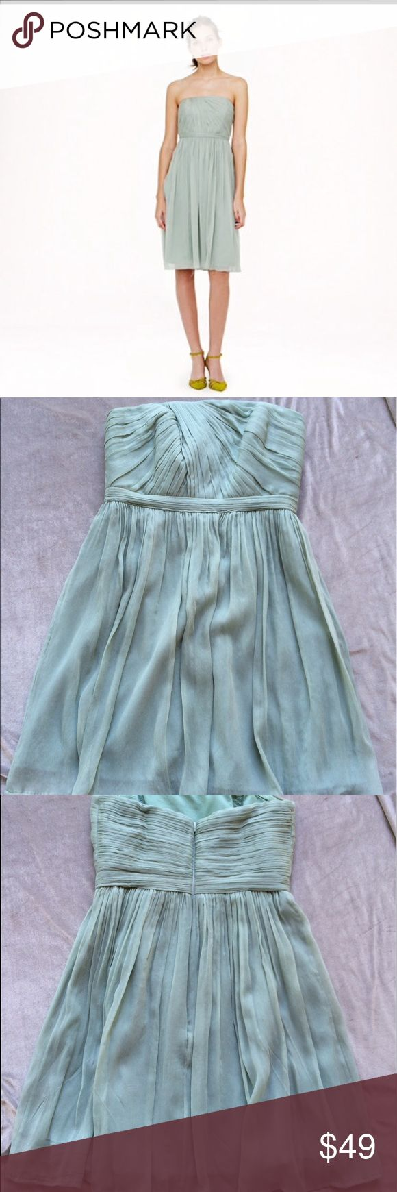 """J Crew sea foam green dress Perfect for a bridesmaid dress! Brand new condition. Size 4 petite. Measures 27"""" length and 13"""" across waist. J. Crew Dresses Strapless"""