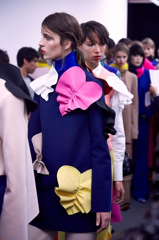 Gathered hearts at MSGM AW15 MFW. See more here: http://www.dazeddigital.com/fashion/article/23895/1/msgm-aw15