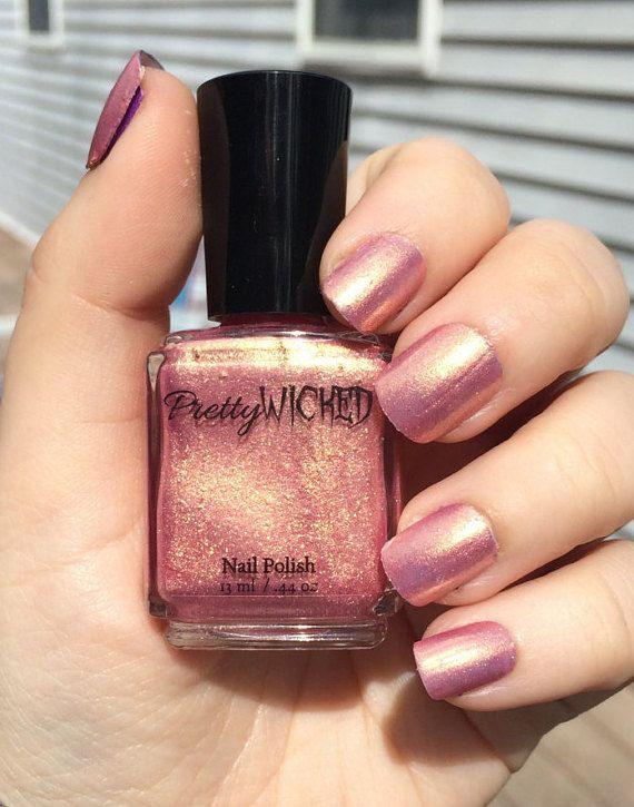 Rose Gold Nail Polish Glitter Rose Gold Nail by PrettyWickedPolish
