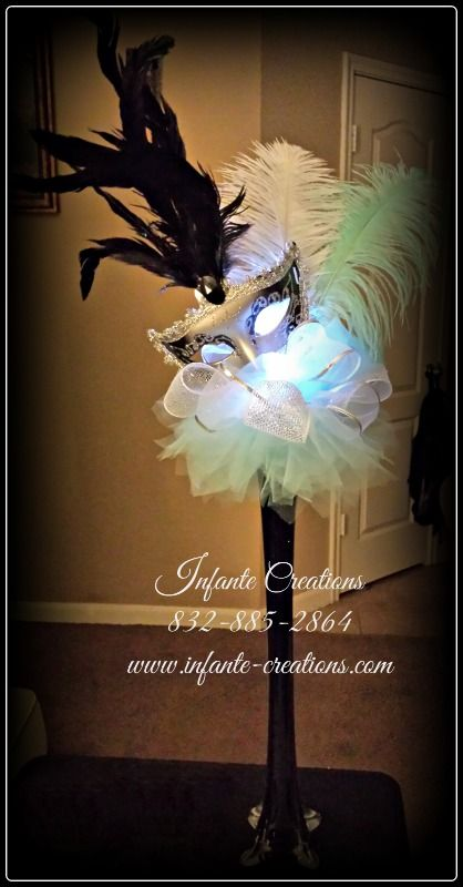 Tiffany Blue, Black, Silver and White Mask Centerpiece with Light