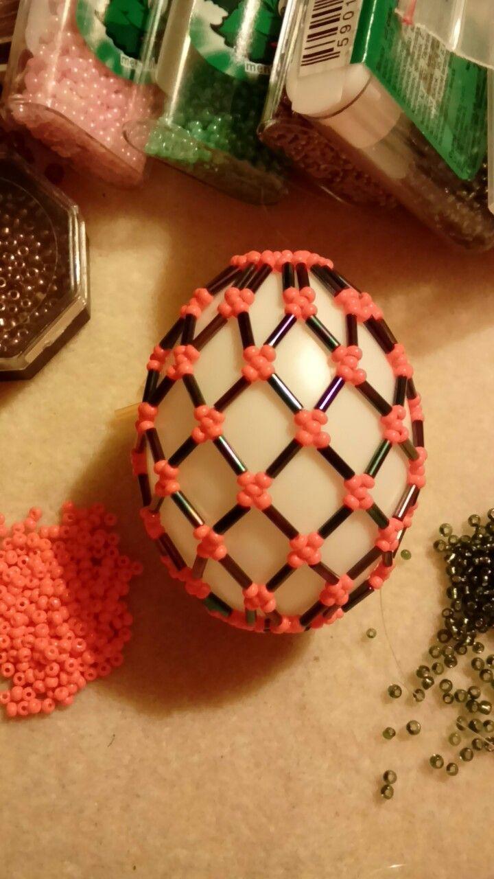 1 óra munka, tojás, húsvét, gyöngy, beaded eggs, Easter eggs