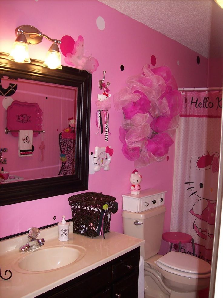 Hello kitty bathroom i want to do this for the girls for Zebra print and red bathroom ideas