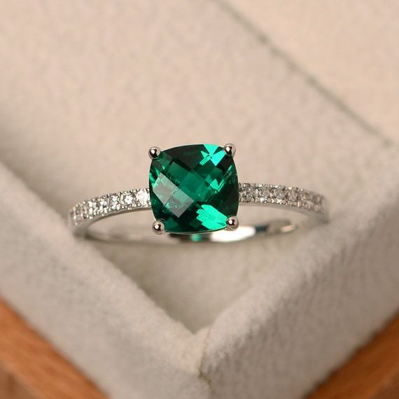 Anillo esmeralda anillo verde Esmeraldo verde anillo por LuoJewelry